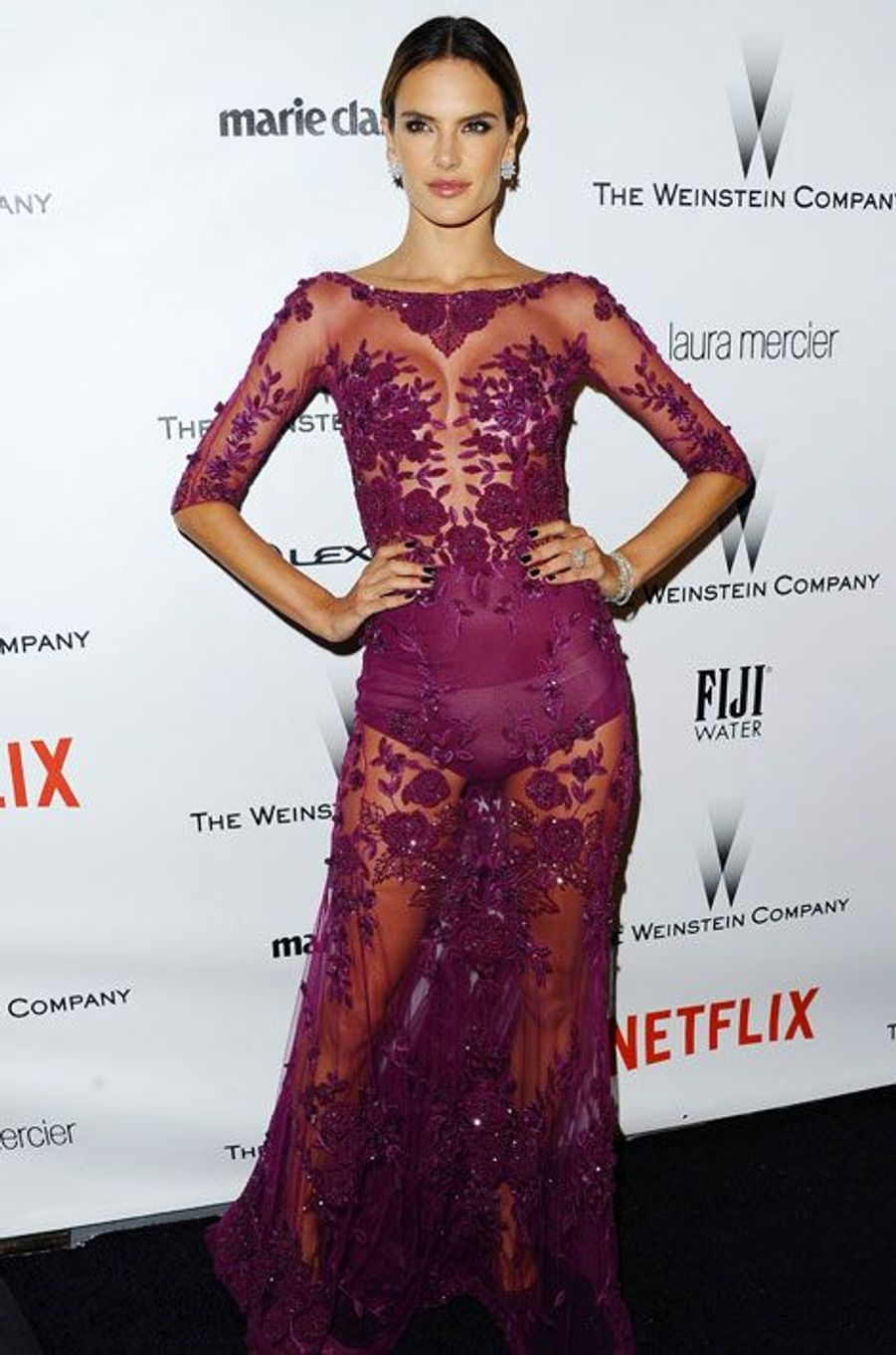 Le mannequin Alessandra Ambrosio en Zuhair Murad lors de l'after party des Golden Globes à Los Angeles, le 11 janvier 2015