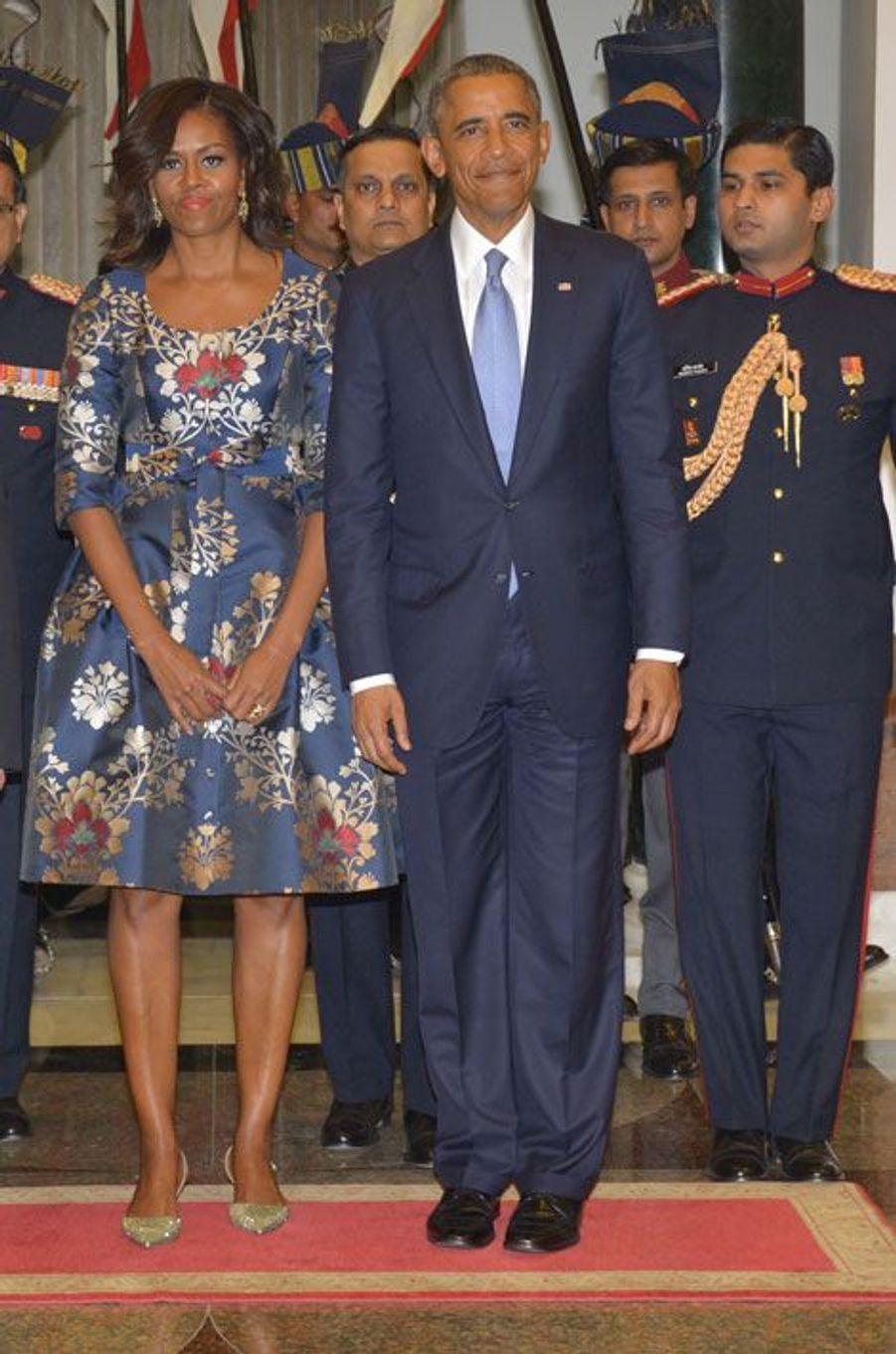 Michelle Obama auprès de Barack Obama et du président de l'Inde, le 25 janvier 2015