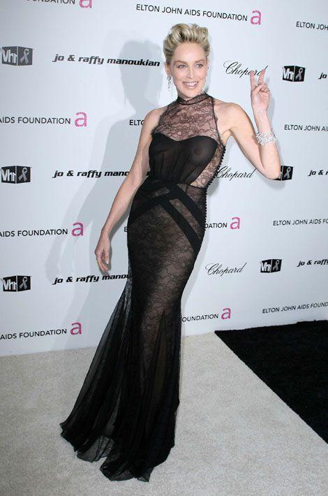 Sharon Stone lors du 17ème gala de la fondation Elton John contre le virus du sida, le 23 février 2009 à Los Angeles