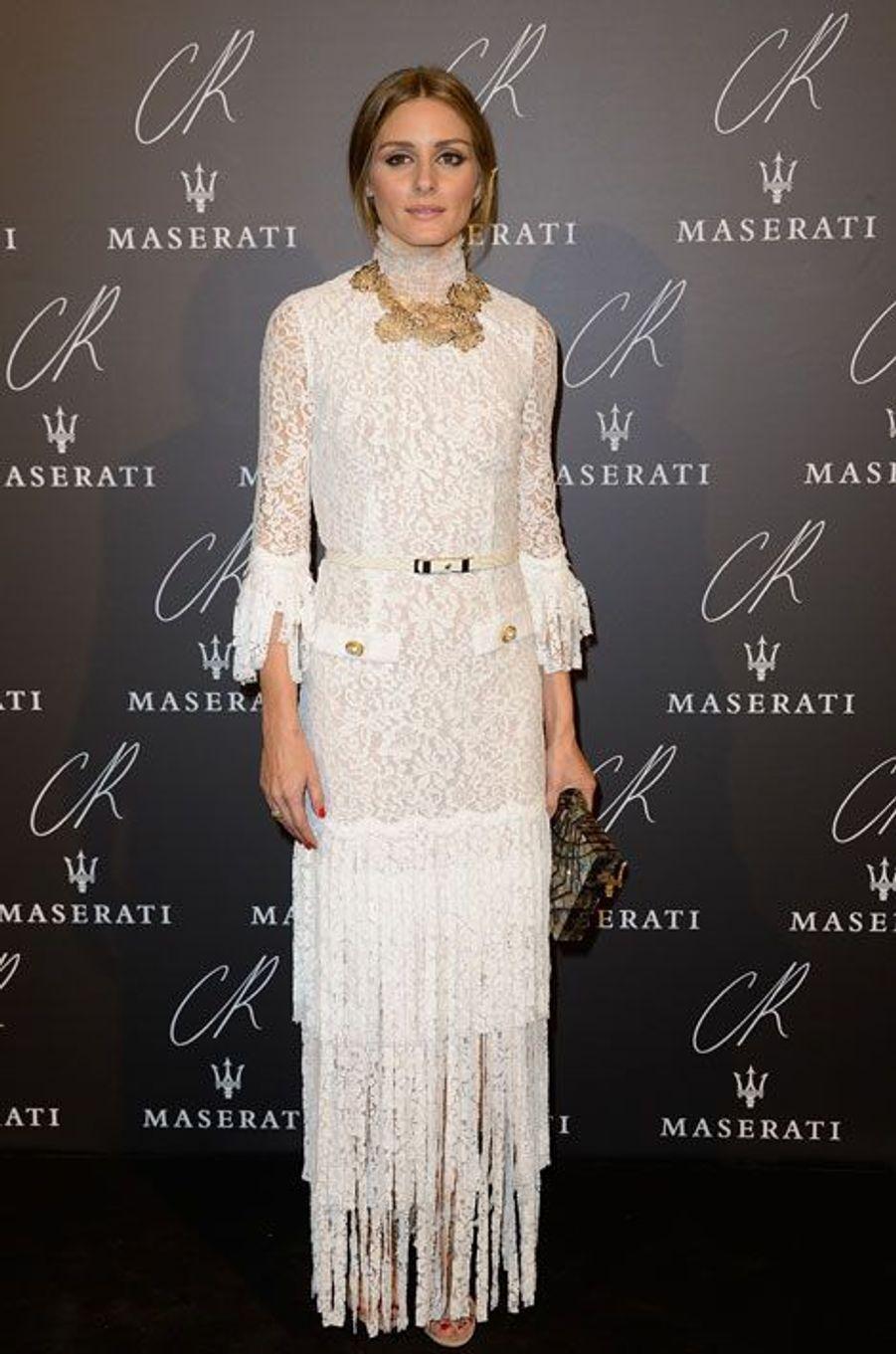 La styliste Olivia Palermo lors de la soirée CR Fashion Night à Paris, le 30 septembre 2014