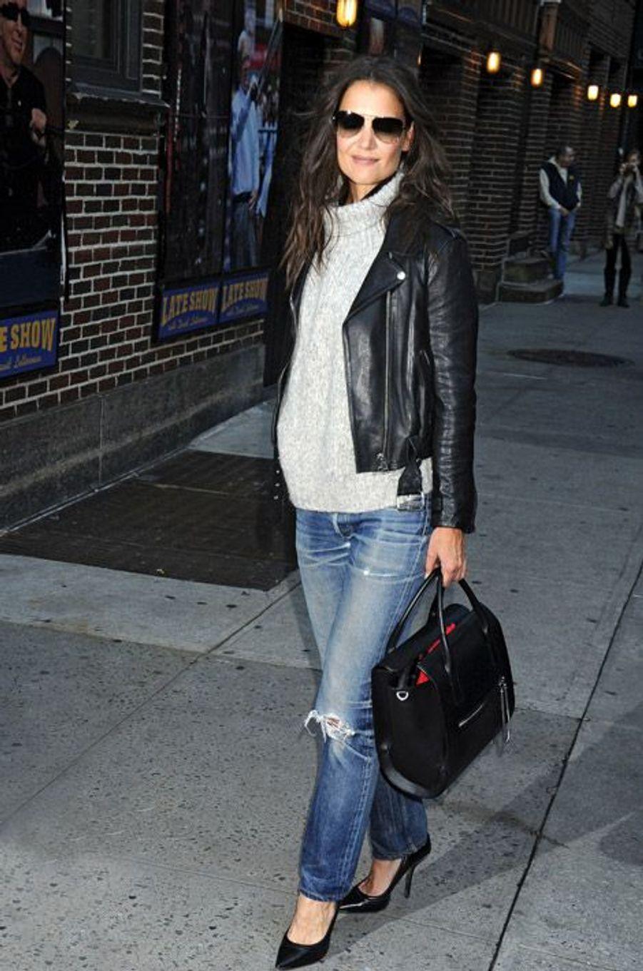 L'actrice Katie Holmes se rend dans uné émission de télévision américain, à New York, le 10 novembre 2014