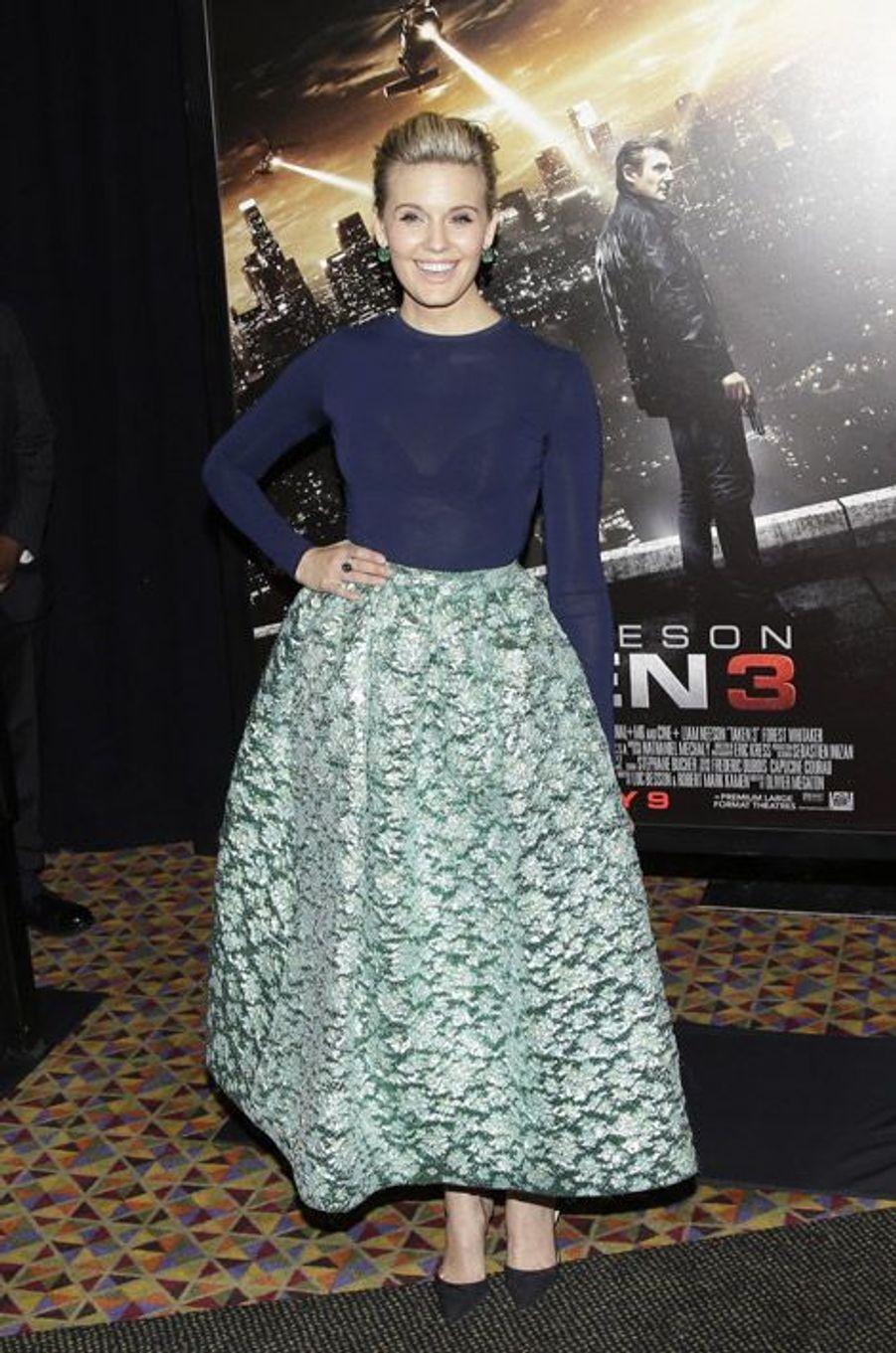 """L'actrice Maggie Grac lors de la première du film """"Taken 3"""" à New York, le 7 janvier 2015"""