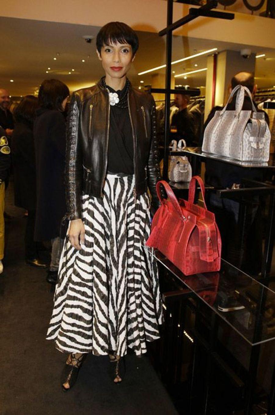L'ex-Miss France, Sonia Rolland, à la soirée Giorgio Armani à Paris, le 5 mars 2015