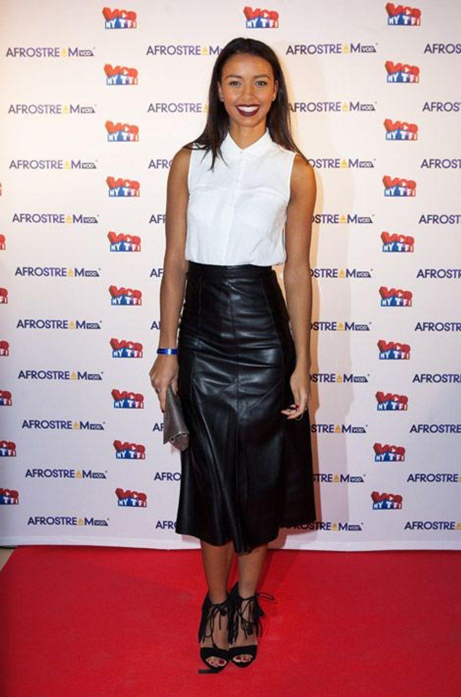 Miss France 2014, Flora Coquerel, lors de la soirée Afrostream dans les locaux de TF1 à Boulogne-Billancourt, le 4 mars 2015
