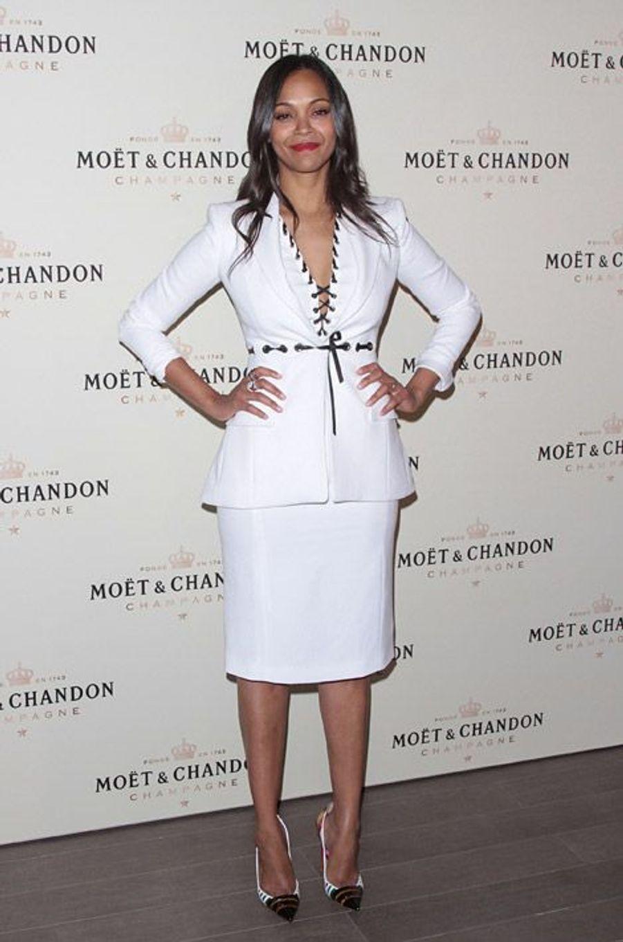 Zoe Saldana lors de la soirée Moët & Chandon en honneur de Roger Federe à Los Angeles, le 7 mars 2015
