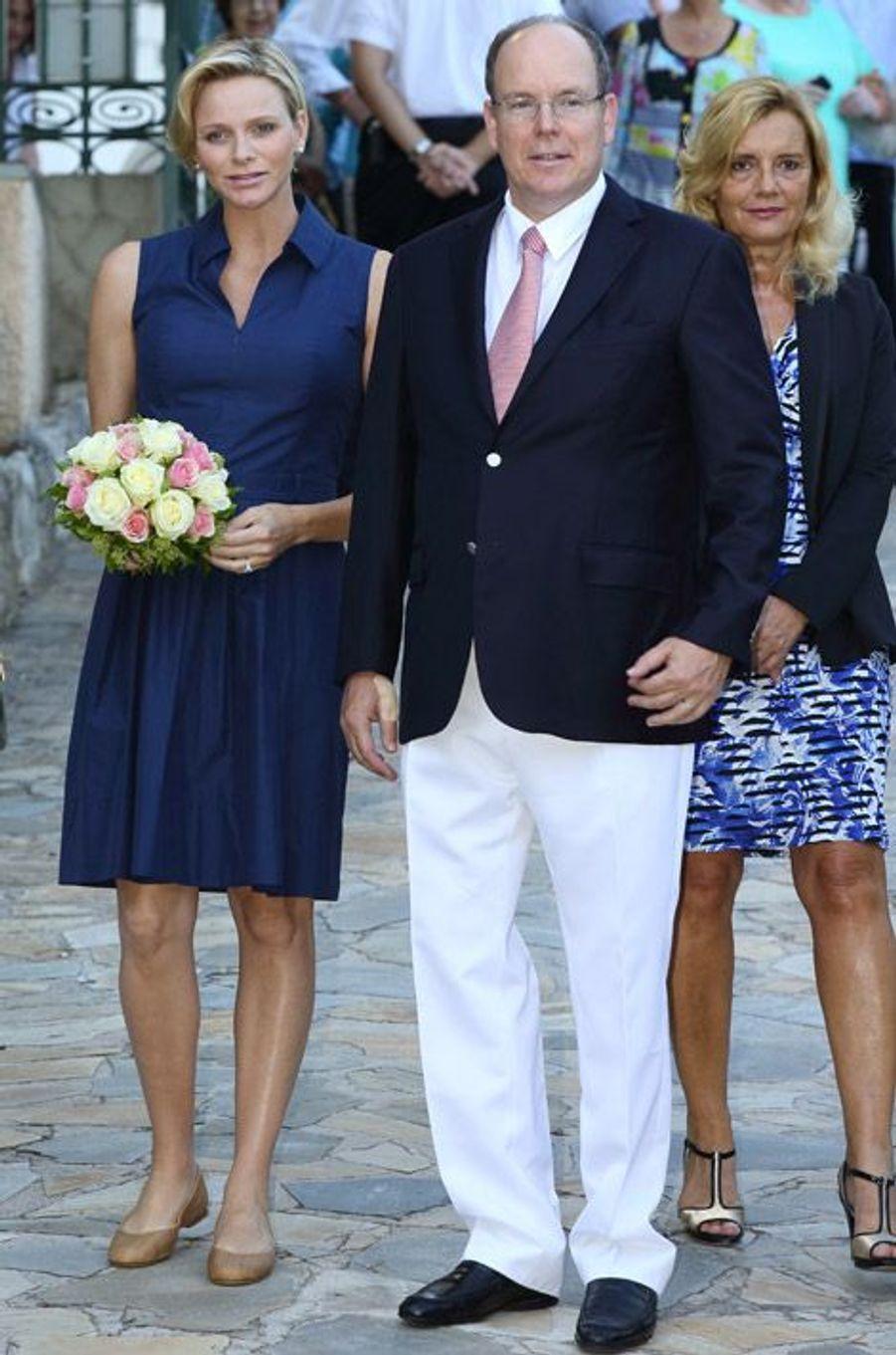 Charlène et Albert de Monaco lors du pique-nique des Monégasques, le 1er septembre 2014