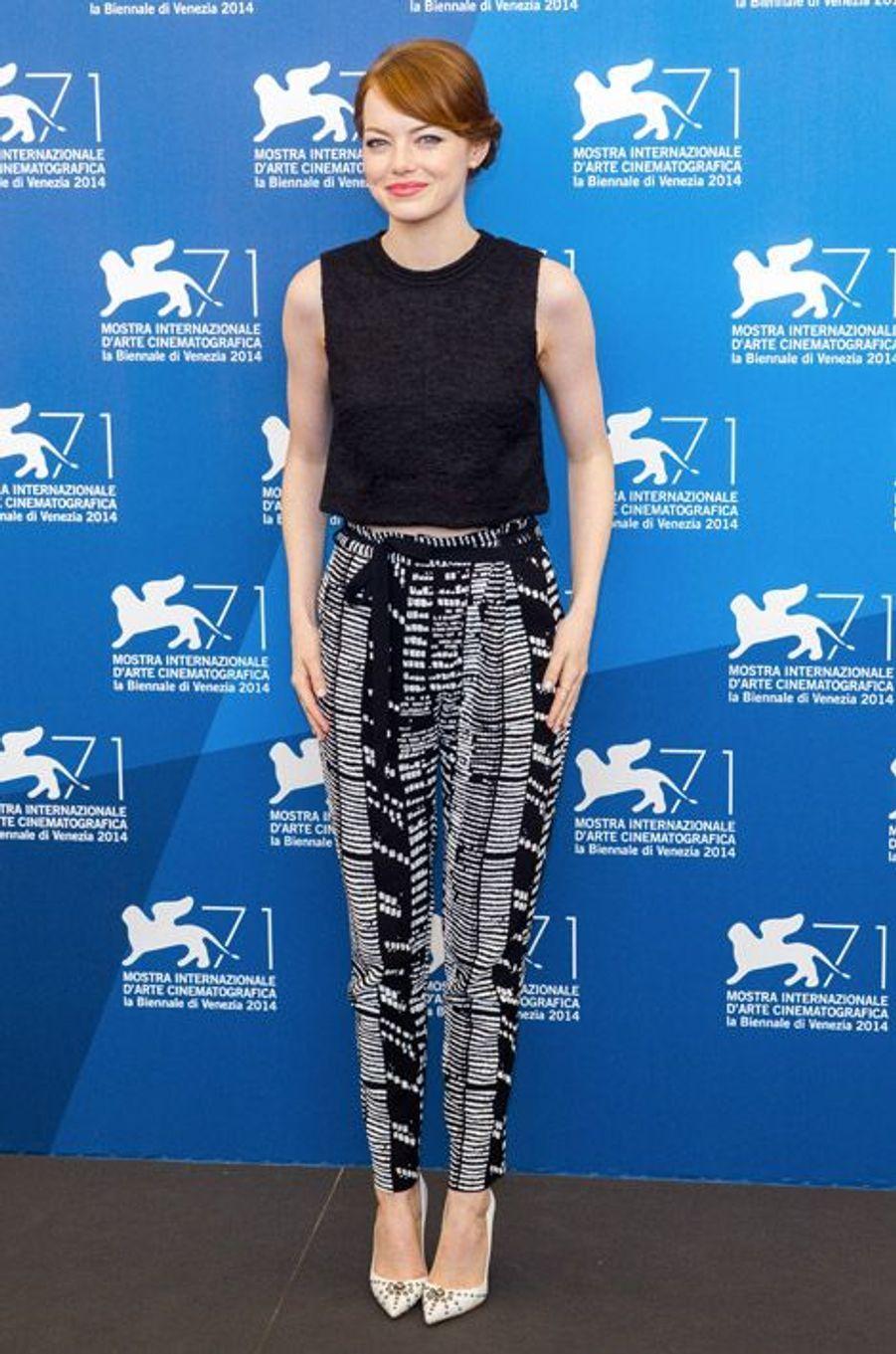 Emma Stone présente son film Birdman à la Mostra de Venise, le 27 août 2014