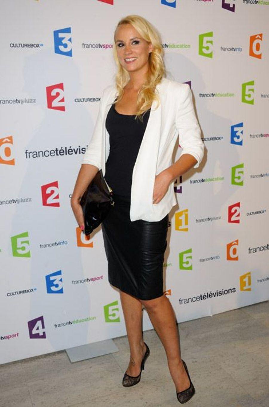 L'ex-Miss France, Elodie Gossuin, lors de la conférence de rentrée de France Télévisions à Paris, le 29 août 2014