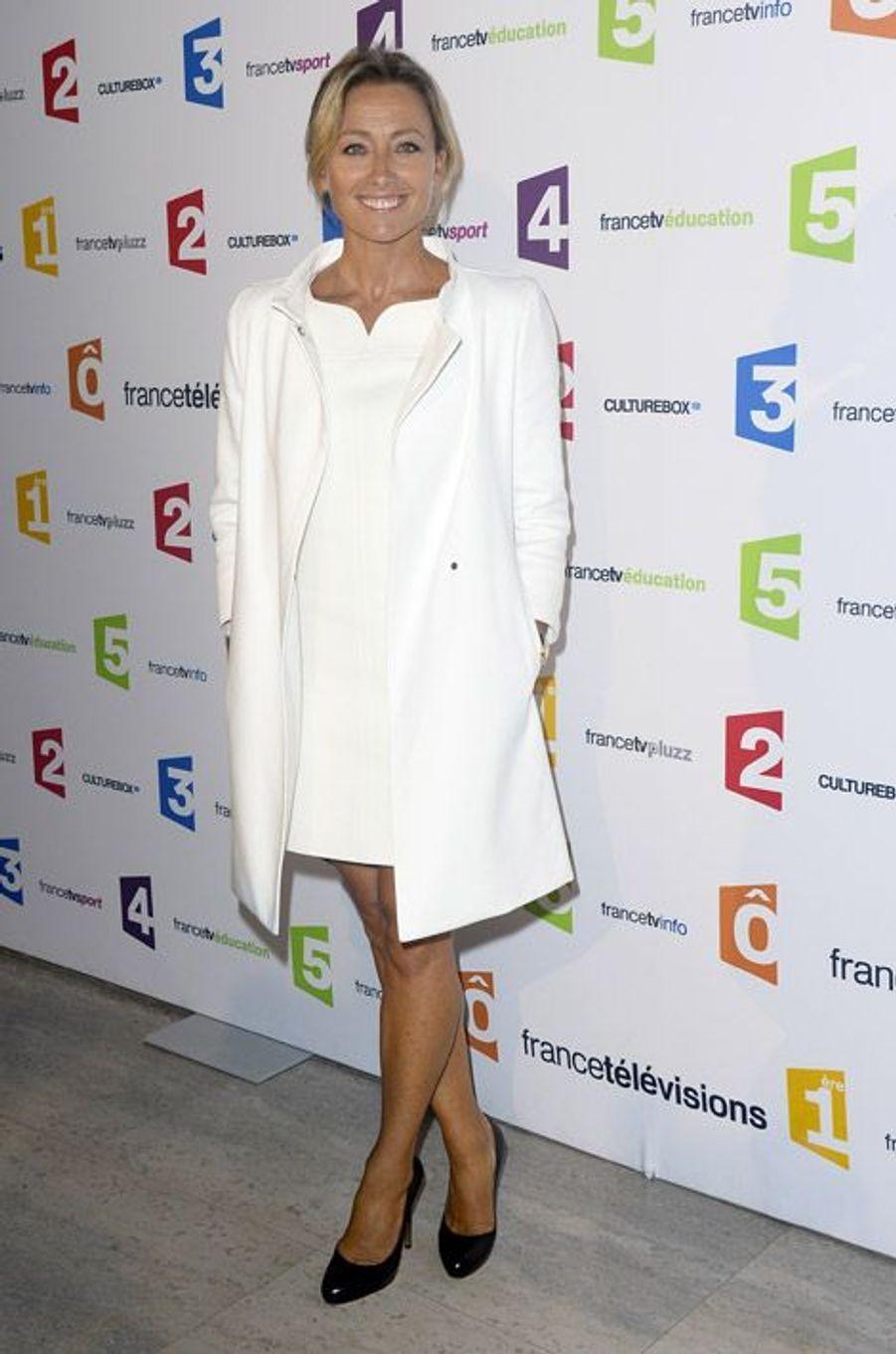 La journaliste Anne-Sophie Lapix, lors de la conférence de rentrée de France Télévisions à Paris, le 29 août 2014