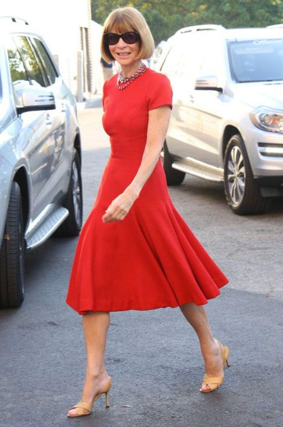 La rédactrice en chef de Vogue US, Anna Wintour, se rend à l'US Open, le 25 août 2014