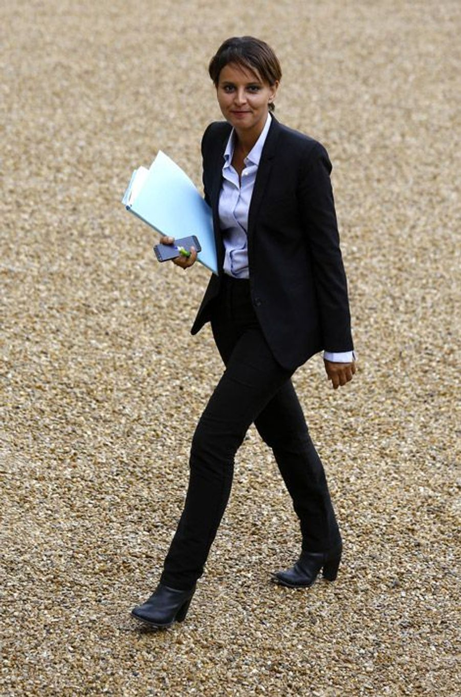 Najat Vallaud-Belkacem, nouvelle ministre de l'Education, lors du premier conseil des ministres du gouvernement Valls 2 à Paris, le 27 août 2014