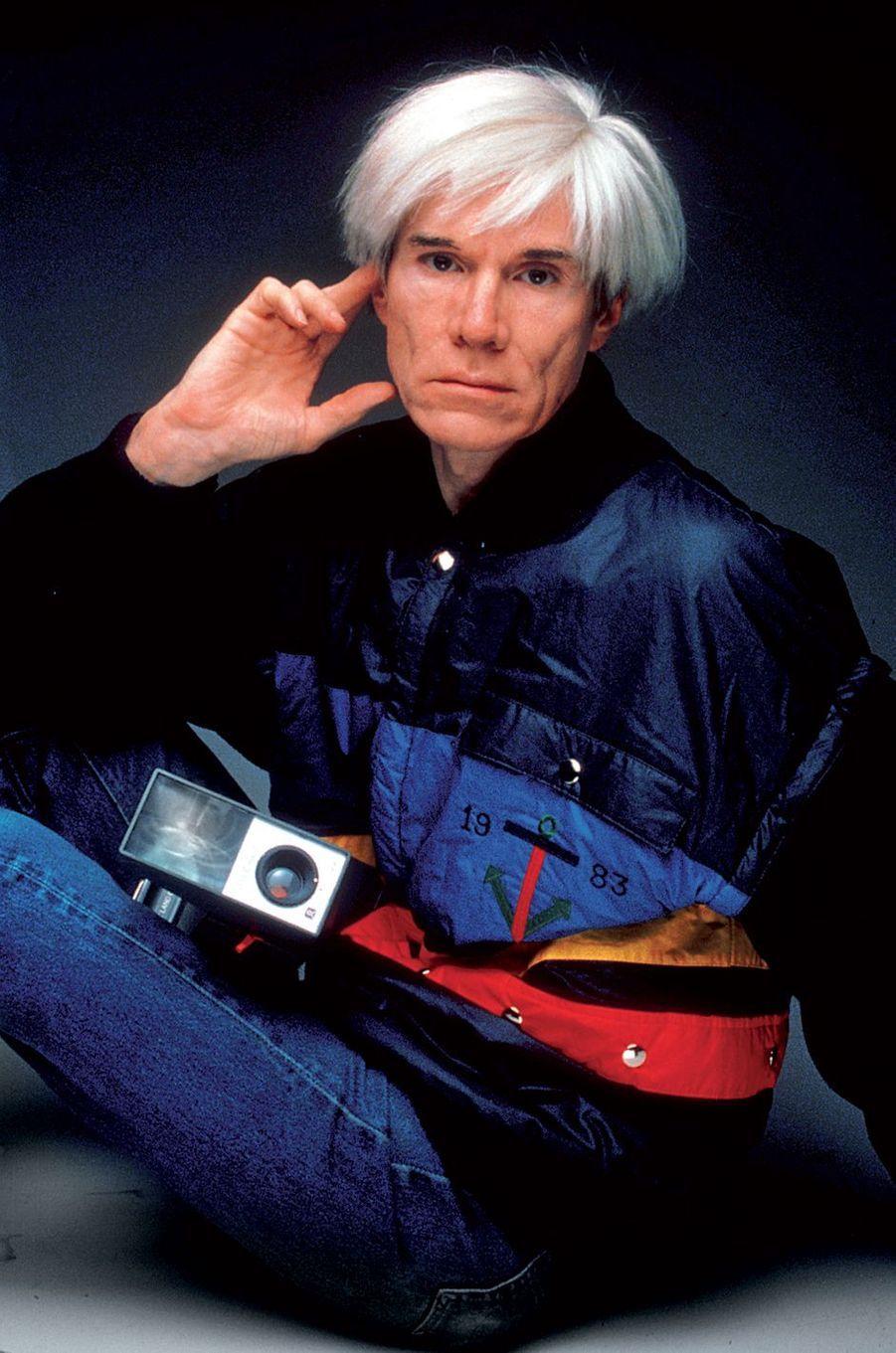 Andy Warhol en Jean-Charles de Castelbajac, photographié par Oliviero Toscani.