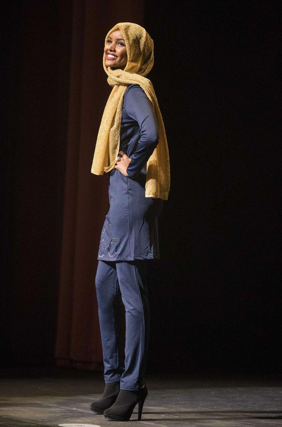 Halima Aden au concours de Miss USA Minnesota àBurnsville, en novembre 2016.