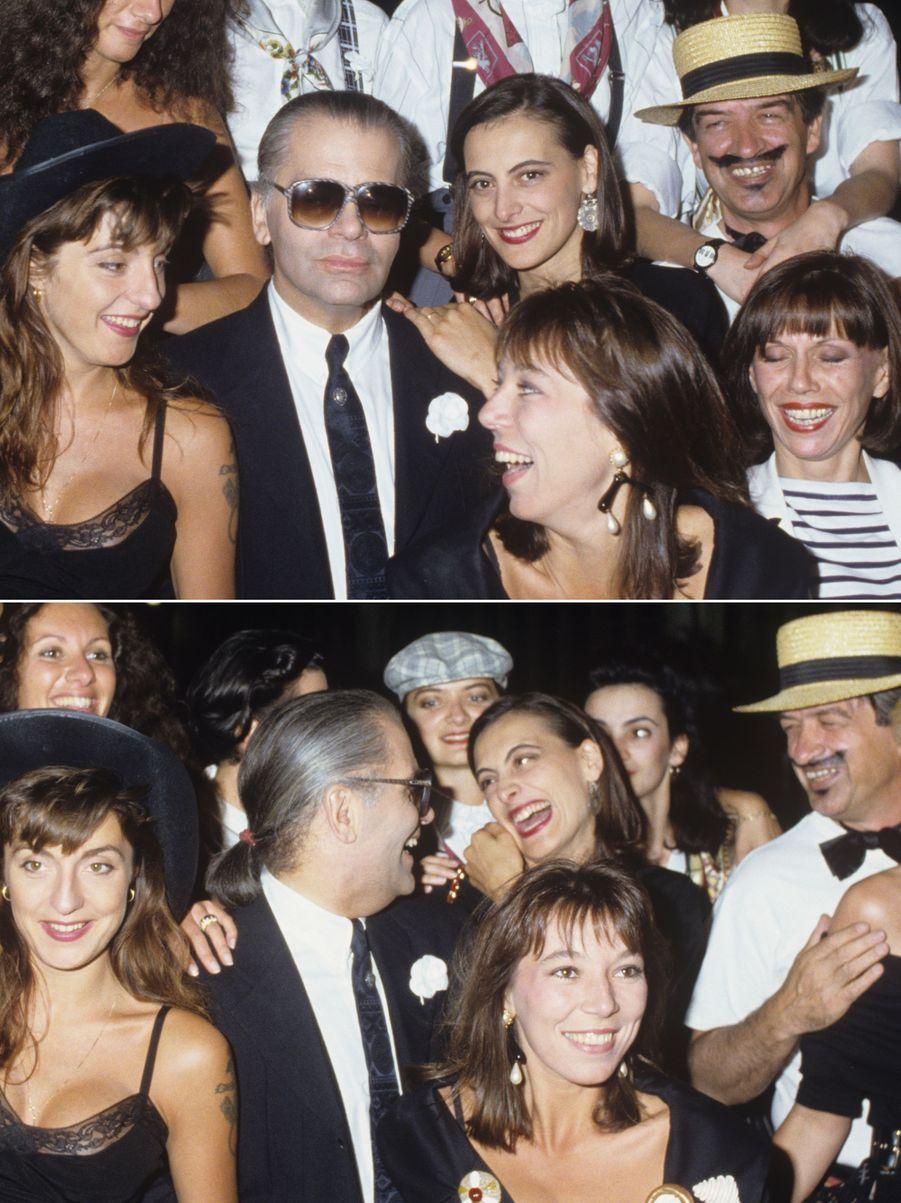 Karl Lagerfled complice avec Inès de la Fressange, fêtant sa collection en juillet 1988.