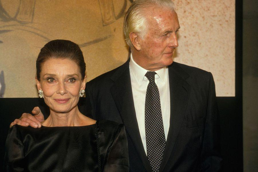 Hubert de Givenchy et Audrey Hepburn en 1991 à Paris