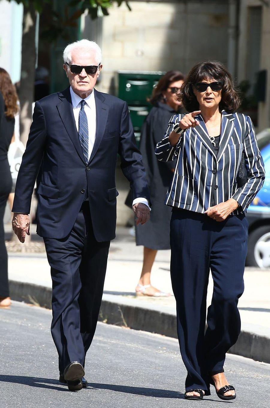 Lionel Jospin et Sylviane Agacinskiaux obsèques de Sonia Rykiel à Paris, le 1er septembre 2016.