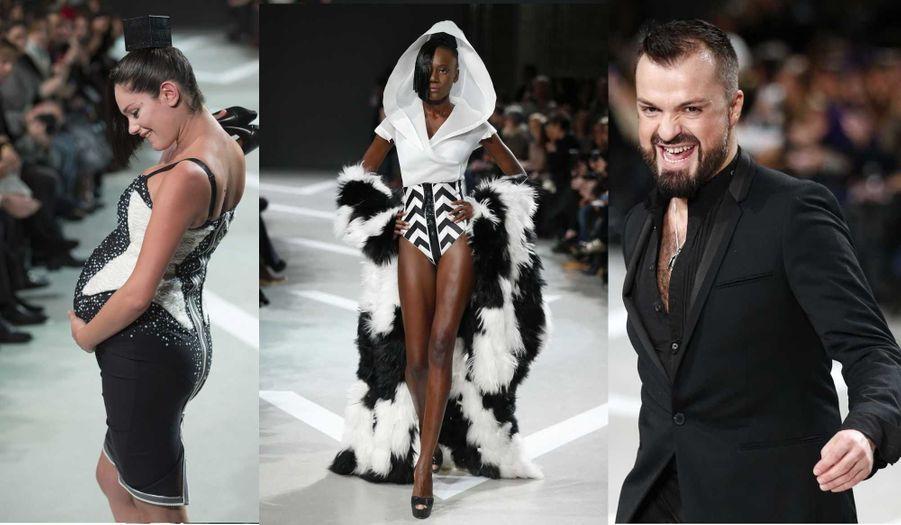 Mardi, Julien Fournié a présenté sa collection Haute-Couture Printemps-Eté 2013, baptisée «Premiers Gènes», dans le cadre de la semaine de la mode parisienne. Après quatre années de shows («Première mutation», «Première extase»…) et deux rétrospectives (à Singapour et à Tokyo), cette collection visait à faire ressortir la «substantifique moelle de la maison», nous a confié le créateur. Sur «Personal Jesus», de Marilyn Manson, des mannequins à l'allure japonisante ont défilé avec des jupes zippées très graphiques, du cuir très finement travaillé, auquel venaient se mêler des piping en silicone, des cristallisations en bakélite, des jeux de dégradés... Des pin-up futuristes vêtues de matières façon «double-peau», de robes aux «découpes anatomiques» propre au designer, faisant l'éloge d'une féminité décomplexée et sophistiquée. Julien Fournié nous avait en outre promis une «surprise», et nous n'avons pas été déçu du voyage, lorsqu'une femme enceinte a fait son apparition sur le catwalk.