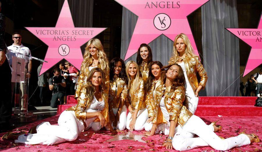 Elle pose ici avec Marisa Miller, Alessandra Ambrosio, Selita Ebanks, Heidi Klum, Adriana Lima, Izabel Goulart et Karolina Kurkova.