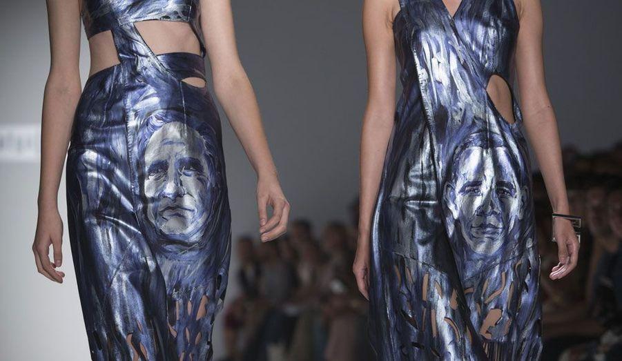 La créatrice Katya Leonovich a décidé de faire entrer la politique dans le monde de la mode en imprimant les visages des candidats à l'élection présidentielle américaine, Barack Obama et Mitt Romney.