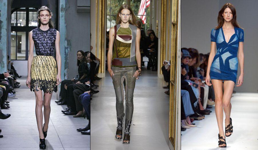 La nouvelle est tombée lundi en fin de journée: Nicolas Ghesquière, directeur artistique de la maison de couture Balenciaga a rendu son tablier. En 15 ans, le créateur français est parvenu à redonner ses lettres de noblesse à la griffe espagnole. Retour en images sur certaines de ses créations les plus marquantes. Ici, une robe de la collection prêt-à-porter printemps/été 2013, un ensemble de 2009 et une tenue en camaïeu de bleus datant de 2003.