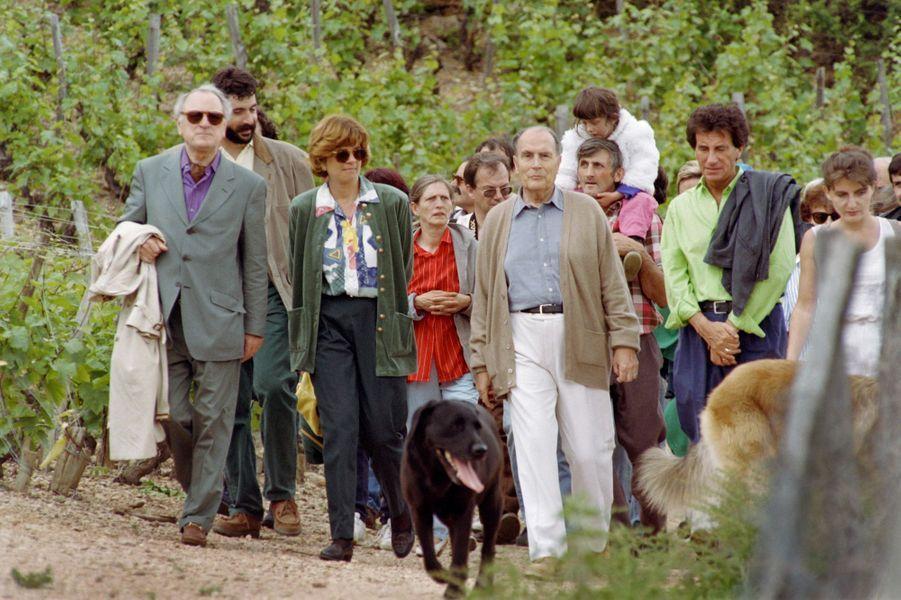 Le président François Mitterrand, ici en mai 1993, est accompagné de Jack Lang et Pierre Bergé, lors de sa traditionnelle ascension de la Roche de Solutré.