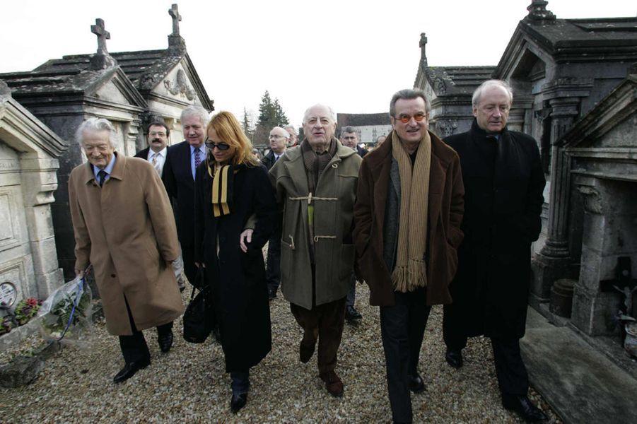 Roland Dumas, Gilles Ménage, Laure Adler et Pierre Bergé et Georges-François Hirsch le 08 janvier 2005.