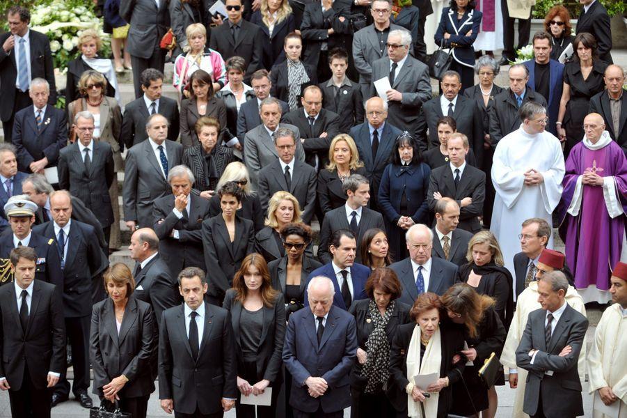 Les obsèques d'Yves Saint Laurent à l'Église Saint-Roch, le 5 juin 2008.