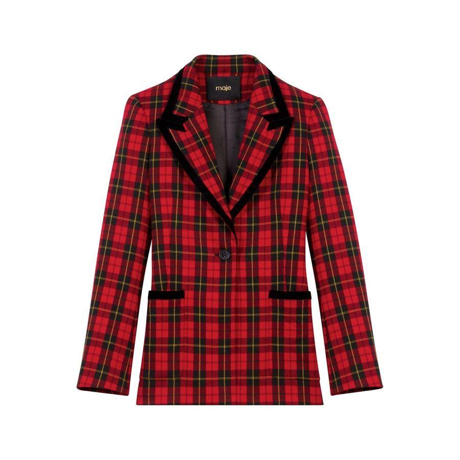 Veste en polyester et viscose avec passepoil en velours, Maje, 325 €.