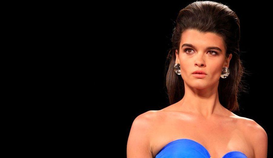 Le mannequin grande taille, visiblement amaigri, a défilé pour la marque Gottex, à la Fashion Week de New York, hier.