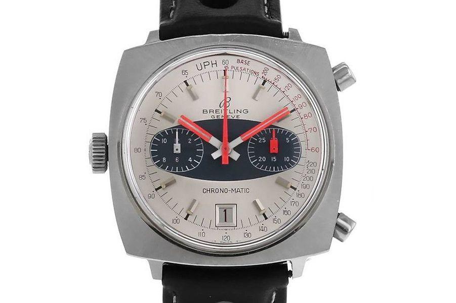 Chrono-Matic en acier, mouvement automatique, bracelet en cuir, Breitling. Prix sur collectorsquare.com: 3780 €.