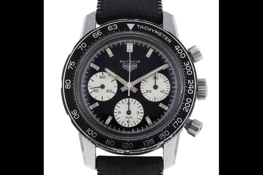 Autavia en acier, mouvement automatique, bracelet en cuir, Heuer. Prix sur collectorsquare.com: 11880 €.
