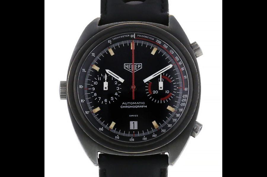 Monza en acier noirci, mouvement automatique, bracelet en cuir, Heuer. Prix sur collectorsquare.com: 5 480 €.