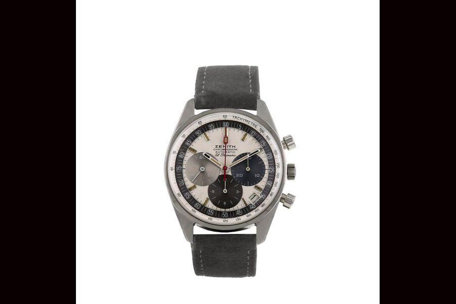 El Primero en acier, mouvement automatique, bracelet en cuir, Zenith. Prix sur collectorsquare.com: 15 980 €.