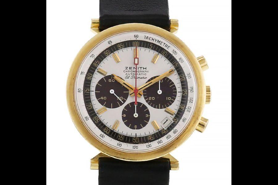 El Primero en or, mouvement automatique, bracelet en cuir, Zenith. Prix sur collectorsquare.com: 17 850 €.