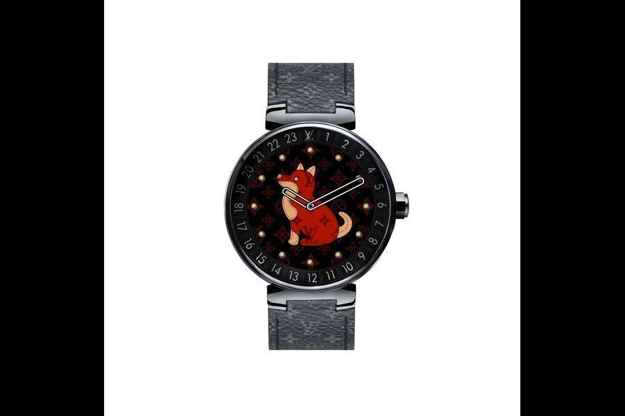 Tambour Horizon en acier PVD noir, cadran digital, 42 mm de diamètre, mouvement compatible Android, Android Wear, iPhone et iOS, bracelet en toile Monogram. Louis Vuitton. 2 800 €.