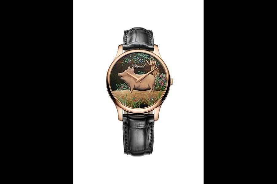 L.U.CXP Urushi Year of The Pig en or rose, 39, 5 mm de diamètre, cadran laqué selon l'art ancestral japonais de l'Urushi, bracelet en alligator. Série limitée à 88 exemplaires. Chopard.