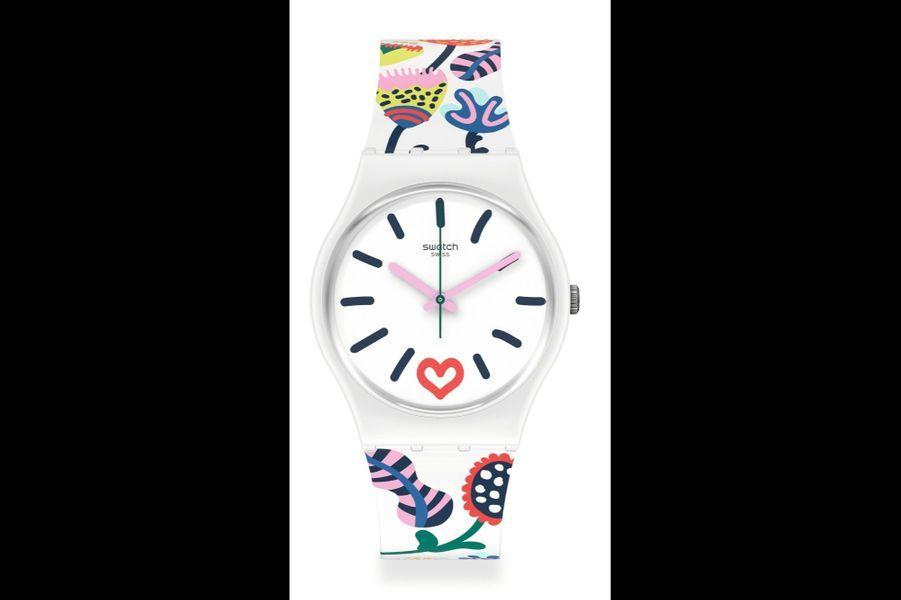 Gent Just Flowers en plastique, 34 mm de diamètre, mouvement à quartz, cadran coeur, mouvement à quartz, bracelet en silicone. 65 euros. Swatch.