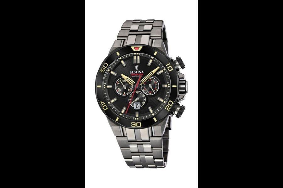CHRONO F20453/1 en acier PVD noir, 44 mm de diamètre, mouvement chronographe à quartz avec date par guichet, bracelet en acier. Série limitée à 4 000 exemplaires. Festina. 449 €.