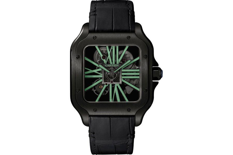 Santos en acier PVD noir, 40 x 47, 5 mm, mouvement squelette à remontage manuel, bracelet en alligator. Cartier, 26 800 €.