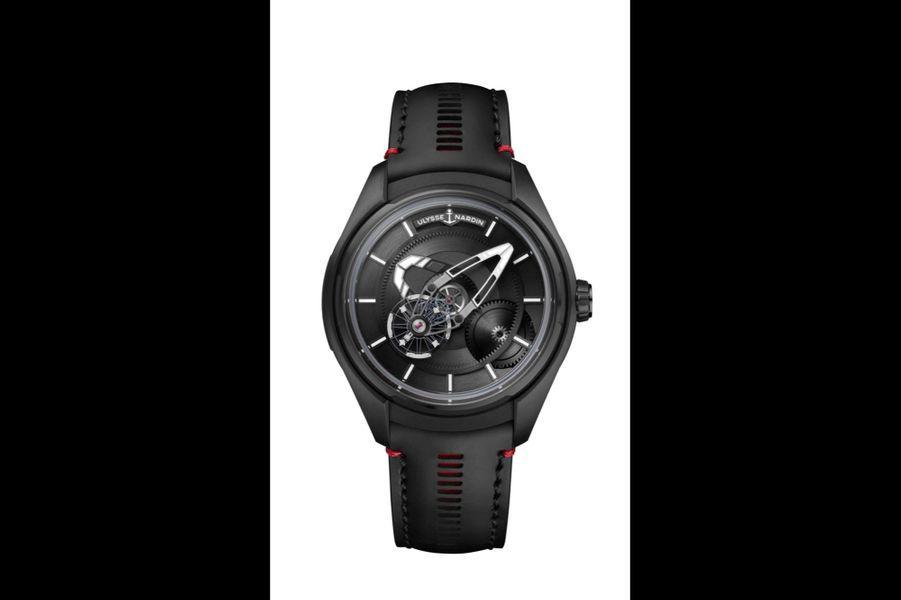Freak X en titane PVD noir, 43 mm de diamètre, mouvement automatique, bracelet en caoutchouc. Ulysse Nardin, 21 000 €.