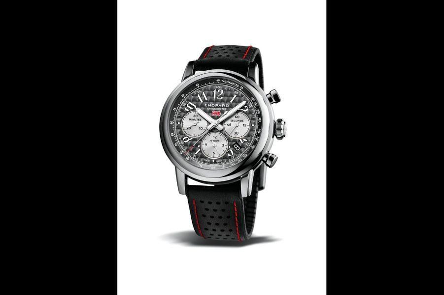Mille Miglia en acier, 42 mm de diamètre, mouvement automatique, bracelet en caoutchouc perforé. Chopard. 5 170 €.