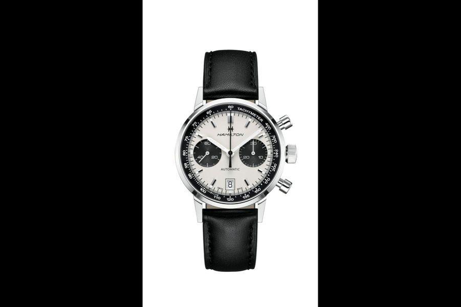 American Classic Intra-Matic en acier, lunette en aluminium, 40 mm de diamètre, mouvement automatique, bracelet en cuir. 1 995 €. Hamilton.