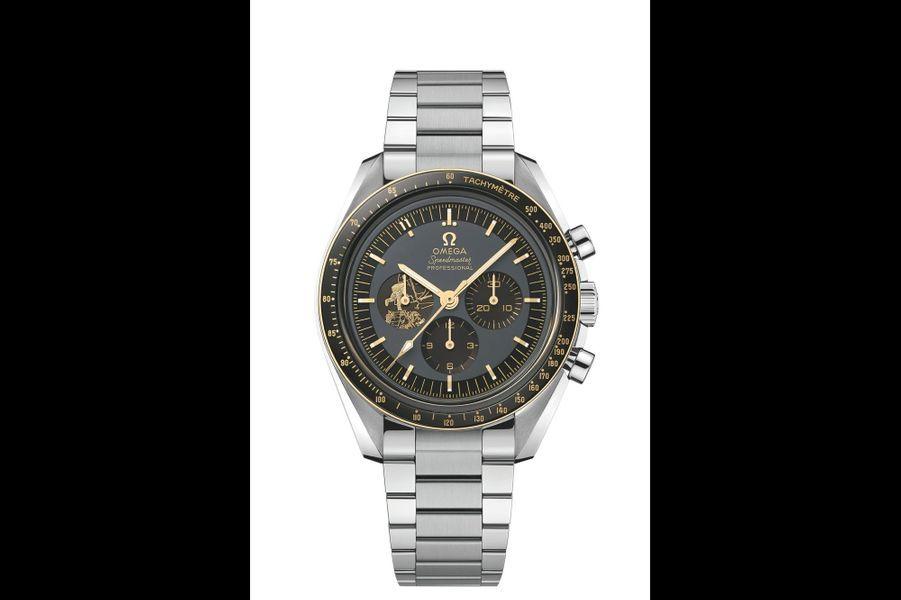 Speedmaster Moonwatch Anniversaire en acier, 42 mm de diamètre, mouvement à remontage manuel, bracelet en acier. Editionlimitée à 50 exemplaires. Omega. 9 100 euros.