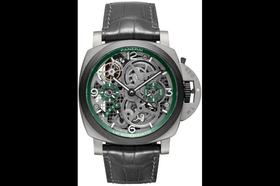 Luminor Tourbillon GMT en titane, 47 mm de diamètre, mouvement à remontage manuel, bracelet en alligator. Editionlimitée à 150 exemplaires. Panerai. 145 000 euros.