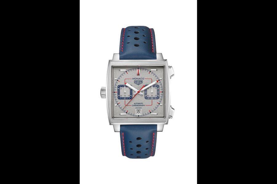 Monaco en acier, 39 mm de diamètre, mouvement automatique, bracelet en cuir perforé. Editionlimitée à 169 exemplaires. TAG Heuer. 5 950 euros.