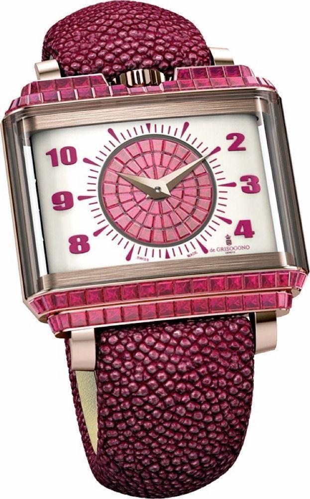 Le vintage en version joaillerie New Retro Lady en or rose sertie de rubis taille baguette, 40 x 36 mm, mouvement automatique.