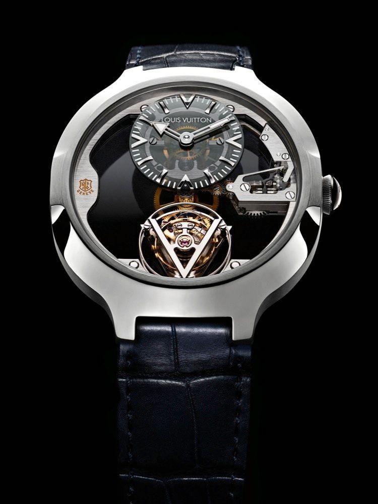 Tourbillon Volant. Boîte en platine, 41 mm de diamètre, cadran décentré à midi, cage de tourbillon à 6 heures, mouvement Poinçon de Genève à remontage manuel, bracelet en alligator.