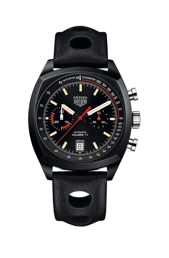 Clin d'œil aux courses d'antan Chronographe Heuer Monza en titane, 42 mm, mouvement automatique.