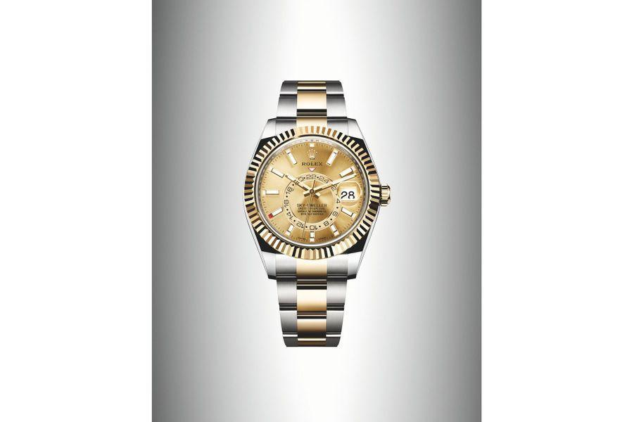 La Sky Dweller, jusqu'alors disponible uniquement en or, se décline aujourd'hui en version bi-matière, acier et or gris,