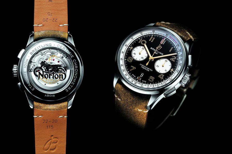 BREITLING, créateur du chronographe moderne en 1915, et Norton, dont les premières motos sont apparues en 1902, s'associent pour lancer la montre Premier Norton Edition. Un chronographe vintage incarnant style et performance.